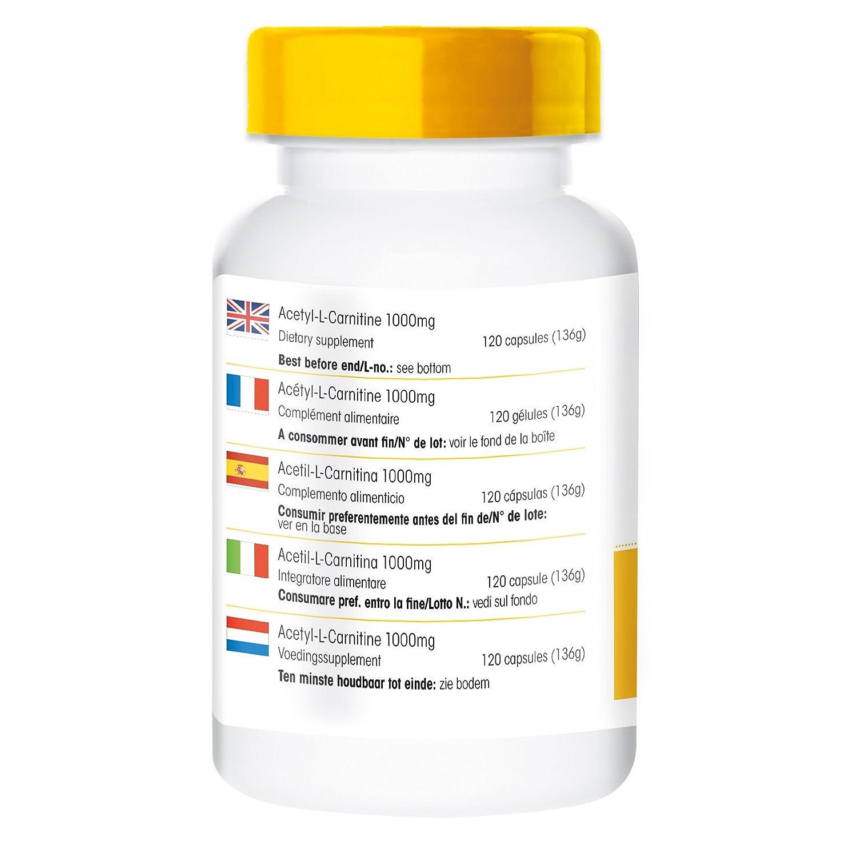 Acetil L Carnitina - 1000mg - 120 Cápsulas veganas: Amazon.es: Salud y cuidado personal