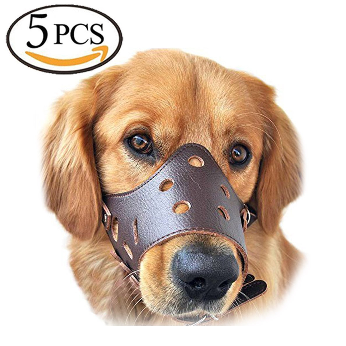 HS Dog muzzle, Muzzle for dog 5Pcs/Set in S,M,L,XL,XXL Adjustable Anti-biting Dog Muzzle Leather (Brown)