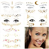 10 Sheets Face Tattoos Sticker, Freckle Sticker and Face Metallic Temporary Tattoo for Women