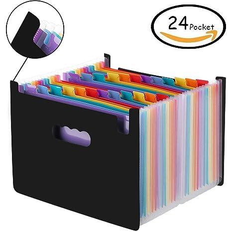 Amaza Clasificadores Carpetas de Acordeón, Colores Archivador Acordeon 24 Bolsillos, Separadores Archivador A4,