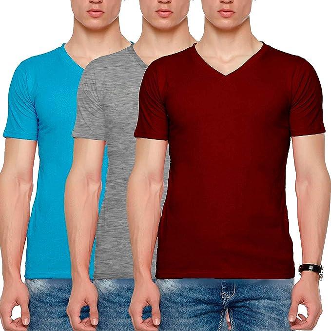 2f6cf22c Wild Thunder Men Combo T Shirts - Half Sleeve V Neck Plain 100% Cotton T  Shirt - Sky Blue, Maroon and Grey Colour Combo Half Hand V Neck Cotton T  Shirt