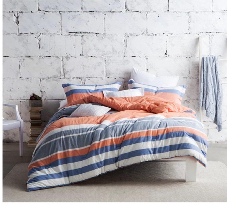1 Piece Geometric Stripe Design Comforter Twin XL Size, Featuring Vibrant Horizontal Lines Comfortable Playful Bedding, Stylish Modern Fun Girls Teens Bedroom Decoration, Blue, White, Multicolor