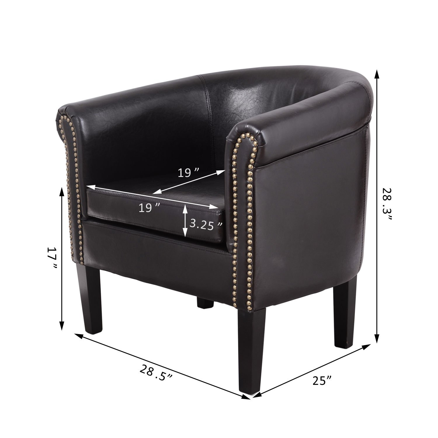 PU Leather Tub Club Barrel Design Chair Room Seat Contemporary ArmChair - Black + FREE E-Book