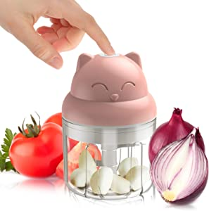 Electric Mini Food Chopper and Processor for Veggie Garlic Onion Nut and Boneless Meat, Cordless and Rechargeable, Cat Shaped, 250ML (Pink)