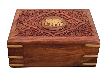 Amazoncom PMK Wooden Inlay Carving Elephant Jewelry Box Vintage