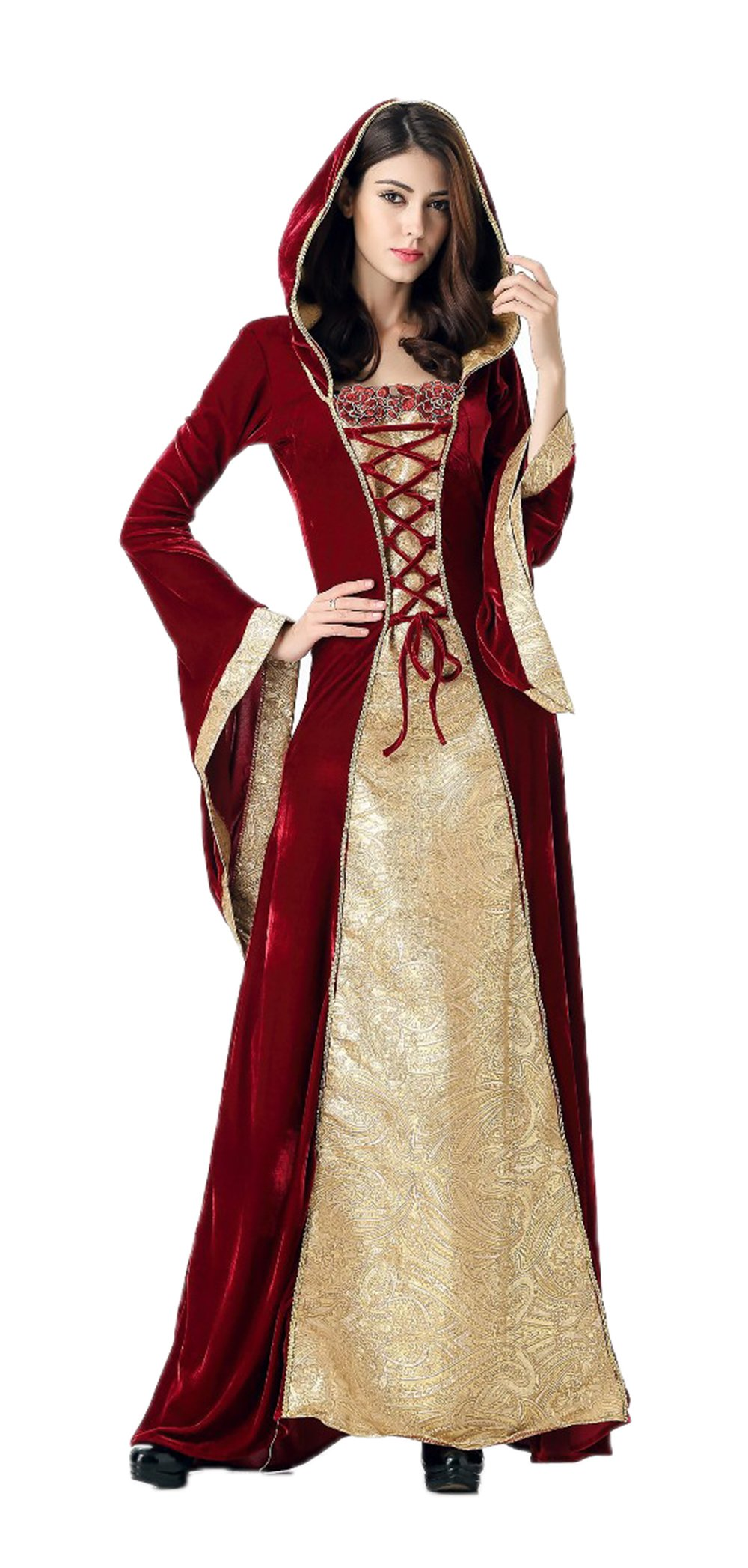 Nuoqi Witch Costume Women's Black Long Cosplay Costume (X-Large, Gold&Wine Red)