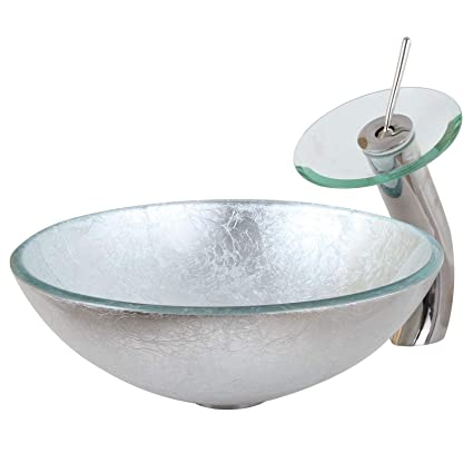 Elite Modern Tempered Bathroom Glass Vessel Sink With Silver