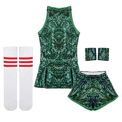 12154865a8b87 Freebily 4pcs Enfant Fille Justaucorps Gymnastique Danse Haut Short Tenues  Vêtement de Danse Hip-Hop