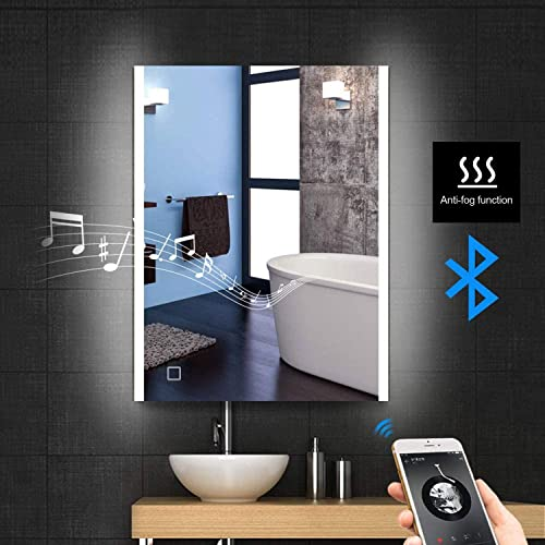 Frivity 24×32 inch LED Lighted Wall Mounted Bathroom Vanity Mirror, Bluetooth Speaker Anti-Fog Dimming LED Smart Touch Switch Control Illuminated Bathroom Vanity Make-up Mirror