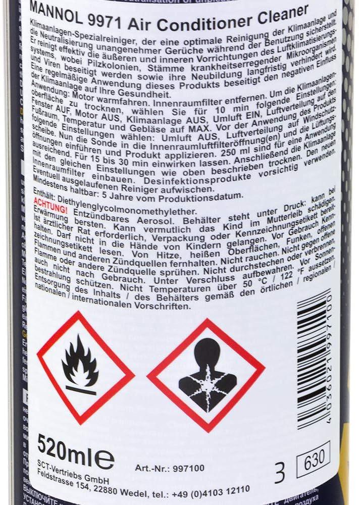 Mannol 9971 - Espray limpiador de aire acondicionado, antibacteriano, 520 ml: Amazon.es: Deportes y aire libre