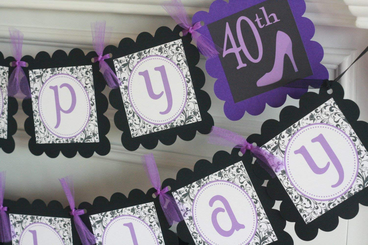 60 Birthday Cupcake Toppers 50 Tags Party Packages 40 Black//White /& Purple High Heel Shoe Over the Hill Chevron Happy 21 Door Signs Available 30 Banners 12