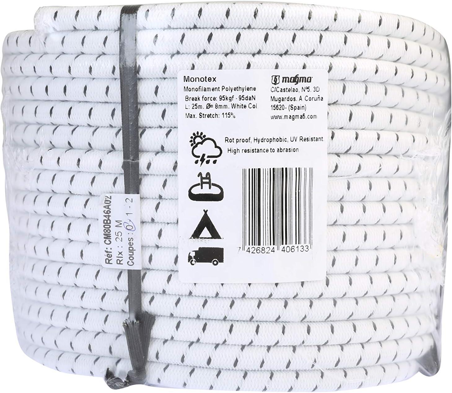 MAGMA Cuerda Elastica 8mm. Monotex Polietileno. Piscinas (Standard NF P 90-308) Toldos Acampadas Exteriores Manualidades Nautica Amarres Escalada ...
