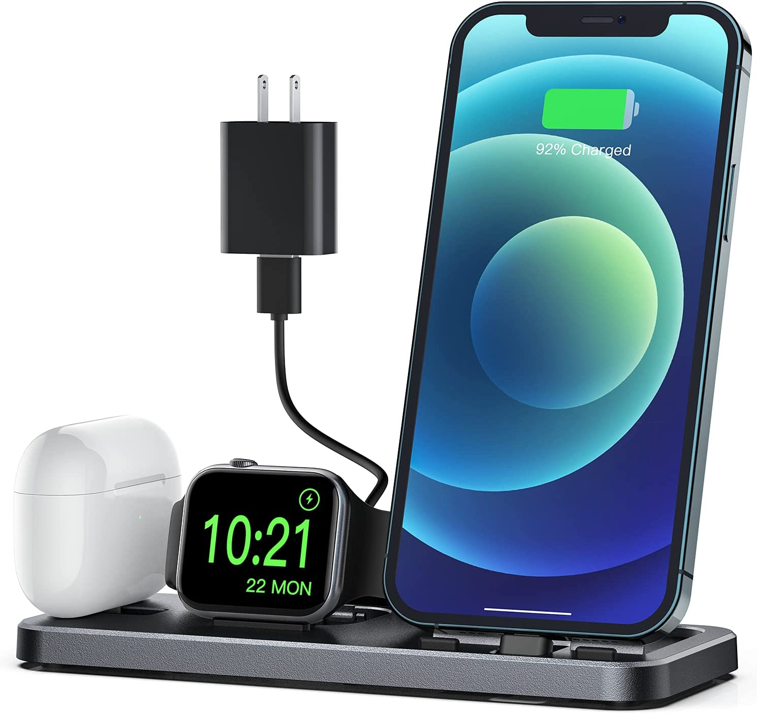 CEREECOO Portable 3 in 1 Charging Station for Apple Product Foldable Charger Stand for iWatch 6/SE/5/4/3/2/1 Charging Stand for iPhone AirPods Pro/2/1 Charging Dock Holder(with 10W Adapter) Space Gray