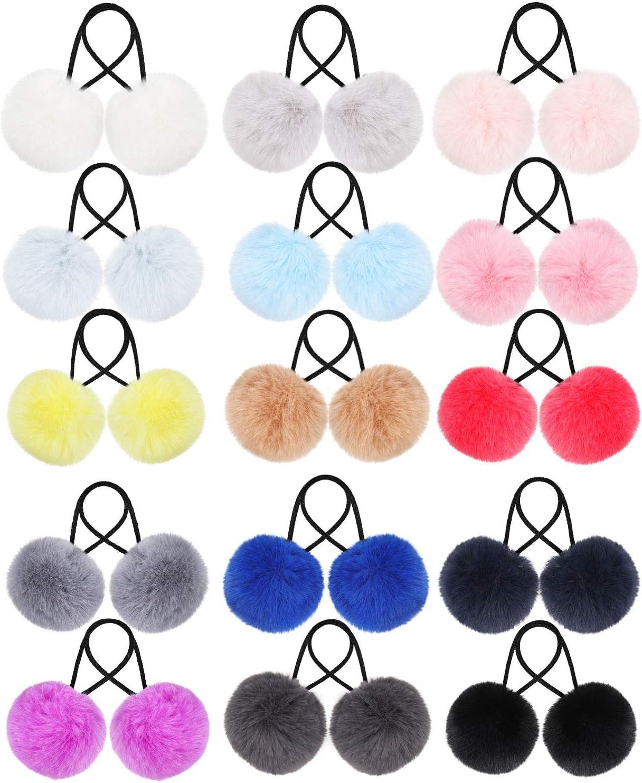 Pom Corbatas de Cabello Banda de Pelo Elástico con Pompones Bolas de Cola de Caballo Esponjosas de Piel para Accesorios de Pelo de Mujer Niña Niños(Kit de Color 3, 30 Piezas)