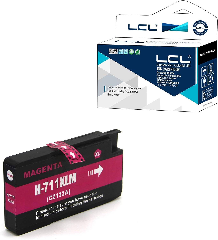LCL Cartucho de Tinta Compatible 711XL 711 XL CZ131A Pigment (1Magenta) Reemplazo para HP Designjet T120 24 T120 610 T520 24 T520 36 T520 610 T520 914: Amazon.es: Electrónica