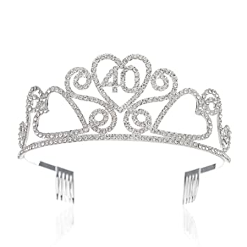 Amazon SWEETV Rhinestone Tiara Birthday Crown Princess Party Hat Hair Accessories 15 16 18 21 30 40 50 60 70th Gift 40th Beauty