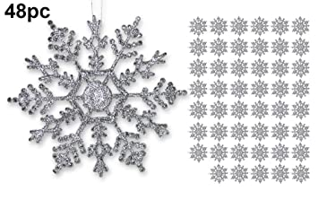 Silver Snowflakes   Set Of 48 Glittery Snowflake Ornaments   Shatterproof Christmas  Ornaments With Silver Cords