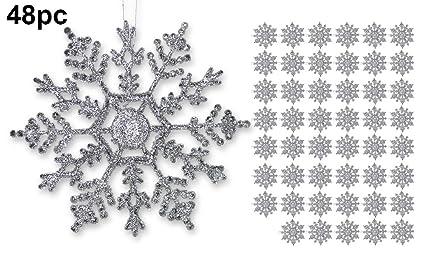 amazon com silver snowflakes set of 48 glittery snowflake