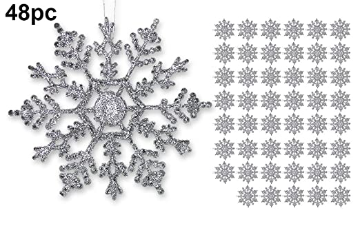 Silver Snowflake Decorations - 48-Piece 4-inch Set - A nice set for DIY projects, decorate the top of gifts, add to tablescape evergreen garland, hang from chandeliers, wrap banister or string across the mantle