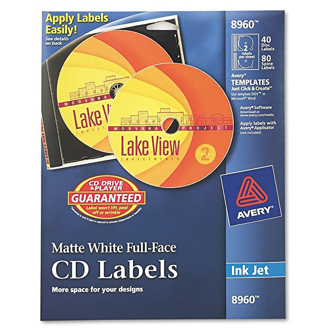 Amazon Avery Cd Labels White Matte 40 Cd Labels And 80 Spine