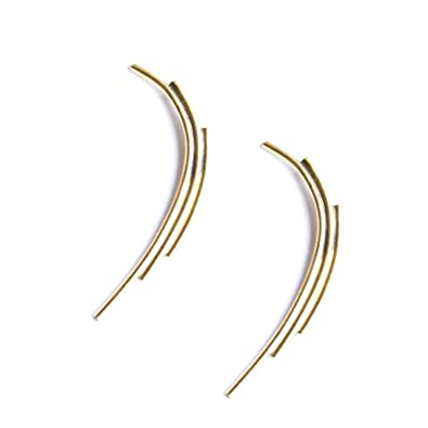 Elements Gold GE2070 9ct Yellow Gold Curved Climber Earrings W0N5i9