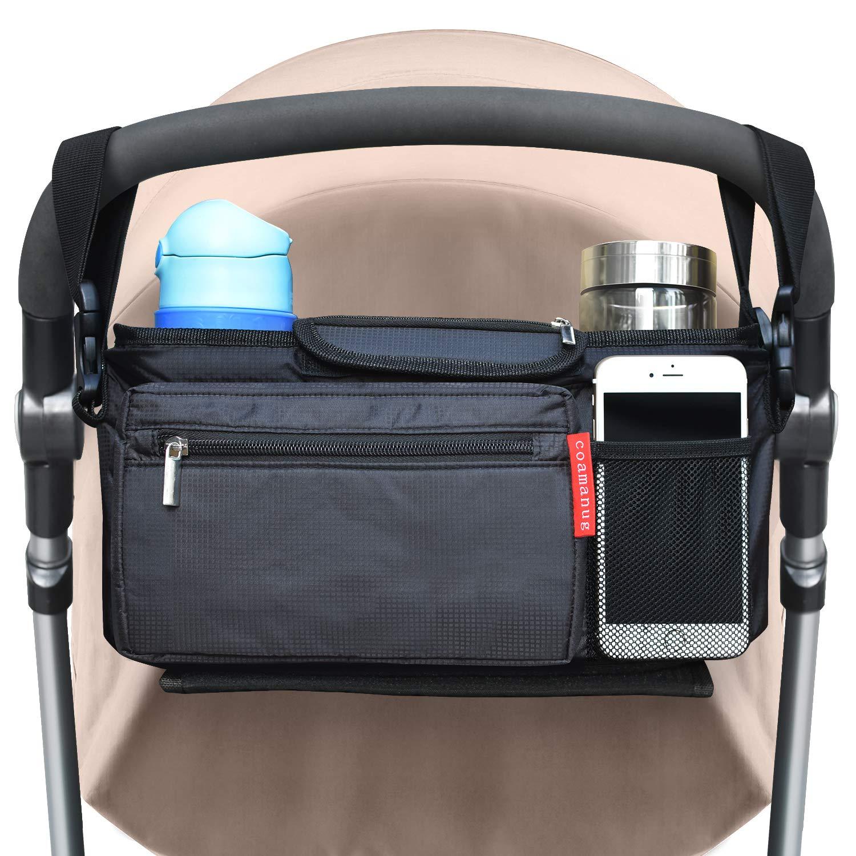 COAMANUG Stroller Organizer with Cup Holders - Universal Fit - Multi-Pocket Design, Extra Storage, Shoulder Strap - Stroller Organizer for Baby Shower