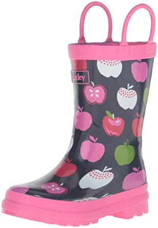 Hatley Girls' Printed Rain Boots, Nordic Apples, 10 M US Little Kid