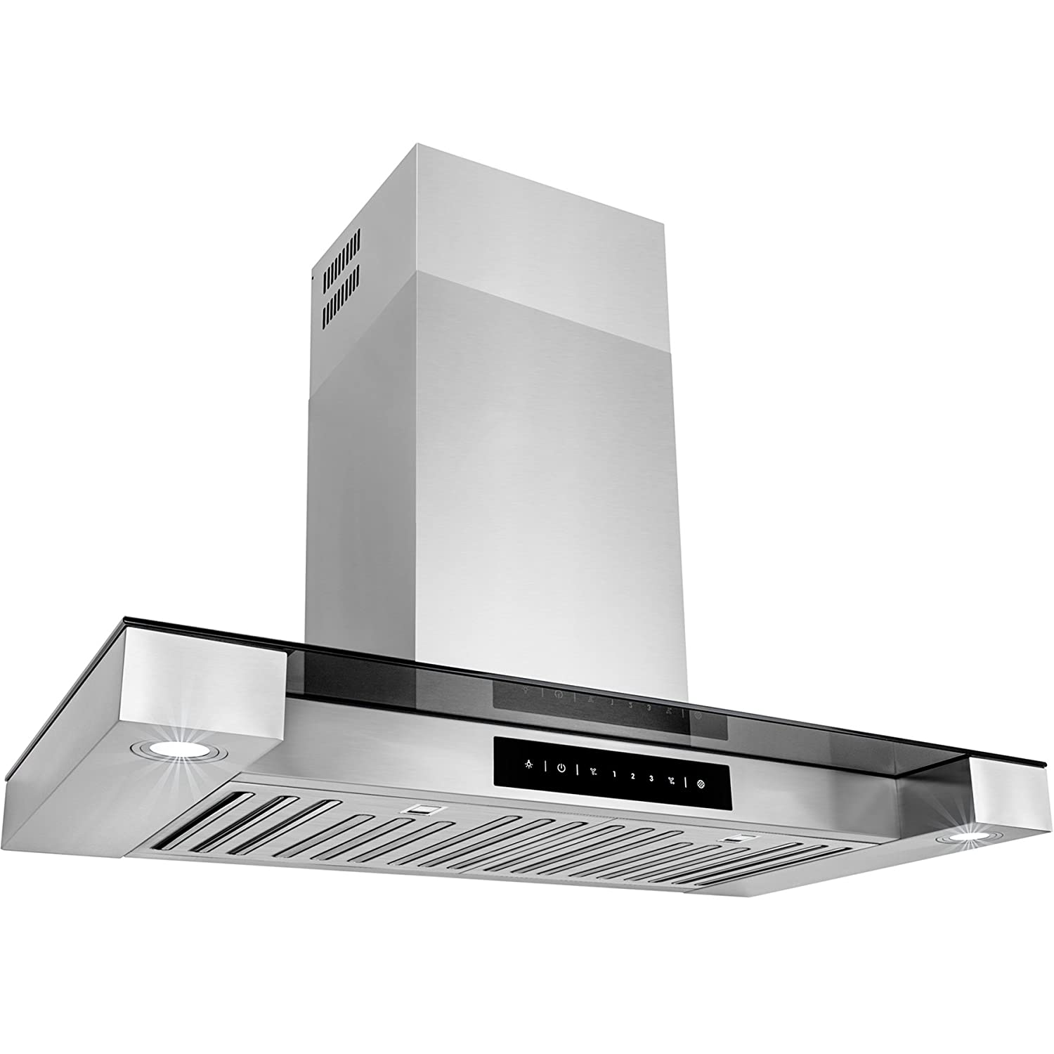 Golden Vantage 30 Stainless Steel Tempered Glass Wall Mount Style Kitchen Cooking Vent Range Hood w/ LED Lights Touch Control Baffle Filters GV-RH0243