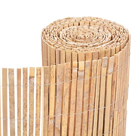 Homatz Bamboo Slatted Fence - Screening Roll Privacy Border, Garden fence  privacy screen, Natural Rolled Bamboo fence (1m x 4m)