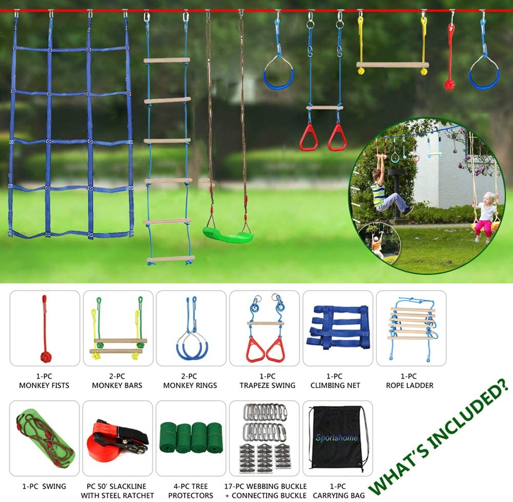 Sportshome Ninja Warrior Obstacle Course for Kids-Ninja Slackline 15M with Most Complete Accessories for Kids,Swing,Trapeze Swing Rope Ladder,Obstacle Net-Have Fun and Keep Fit