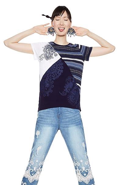 Mujer Small es Azul Camiseta Desigual Para X Amazon Ropa Y XqOxEwUwB