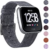 EZCO Compatible Fitbit Versa/Versa Lite Edition Bands, Woven Fabric Breathable Watch Strap Quick Release Replacement Wristband Accessories Compatible Fitbit Versa Smart Watch Women Man