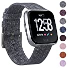CAVN Fitbit Versa Strap Woven, Replacement Strap Fitbit Versa for Women Men Quick Release Watch Strap with Adjustable Stainless Metal Clasp for Fitbit Versa Smart Watch, Charcoal