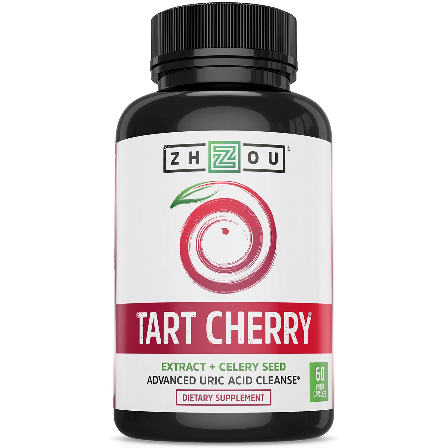 Tart Cherry Extract Capsules with Celery Seed - Advanced Uric Acid Cleanse for Joint Comfort, Healthy Sleep Cycles and Muscle Recovery - Potent Polyphenols Supplement - 60 Veggie Capsules