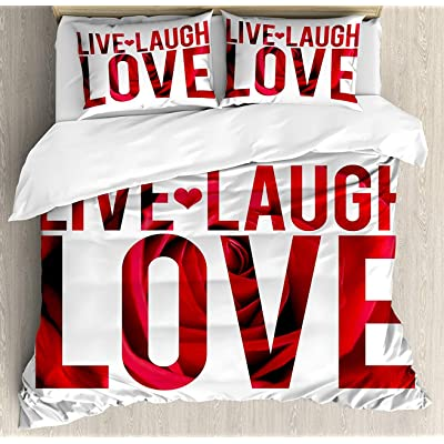 BedBed UP Live Laugh Love Decor 3 Pieces Queen Bedding Sets, Home Comforter Duvet Quilt Cover Sets, 2 Decorative Pillowcases, Bedspread for Childrens/Kids/Teens/Adults(Typographic Montage Words with): Kitchen & Dining