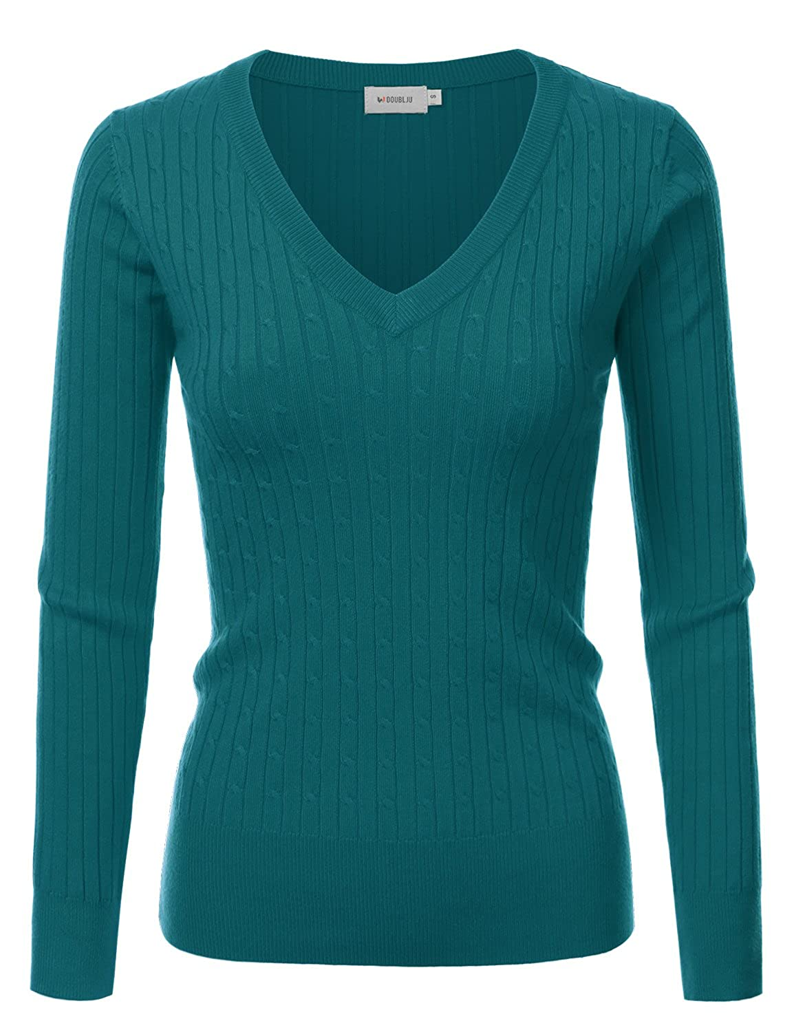 Awoswl0220_darkgreen Doublju Slim Fit Twisted Cable Knit VNeck Sweater For Women