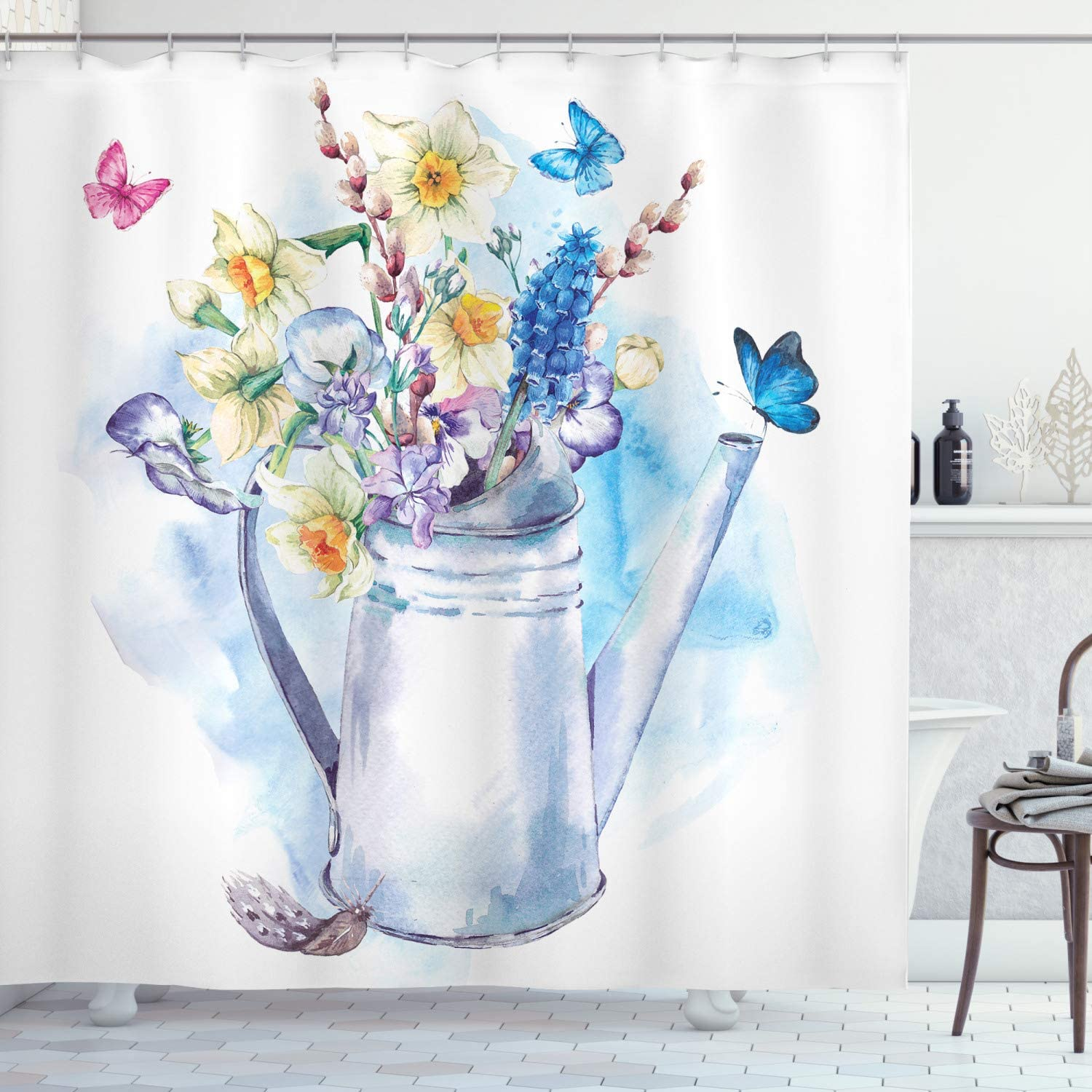 Ambesonne Daffodil Shower Curtain, Summer Bouquet with Violets Puss-Willows Butterflies in Old Fashion Watering Can, Cloth Fabric Bathroom Decor Set with Hooks, 70