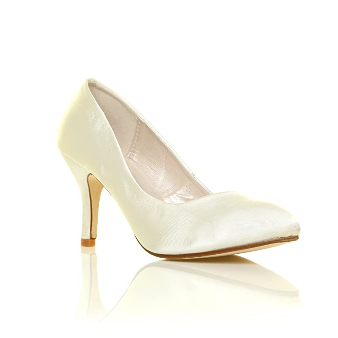 Destiny Ivory Satin High Heel Bridal Court Shoes: Amazon.co.uk: Shoes & Bags