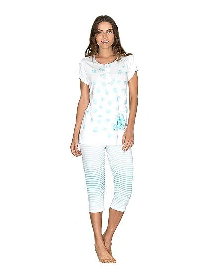 Pijama de verano de mujer con cuello Serafino de viscosa azul turquesa 50