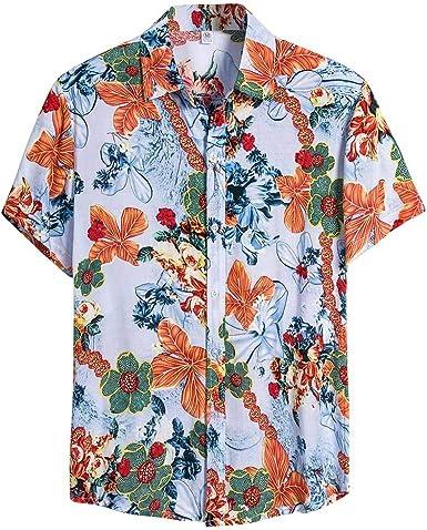 Sylar Camisas Hombre Manga Corta Verano Estilo Nacional Camiseta Casual Camisas Hawaianas Hombre Flores Estampado Camisas de Playa Vacaciones Moda T-Shirt Blusas M-XXXL: Amazon.es: Ropa y accesorios