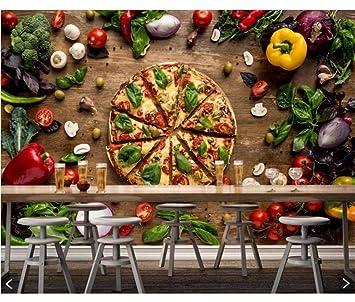 Weaeo Comida Rápida Pizza Verduras Comida Papel Pintado 3D, Sala ...