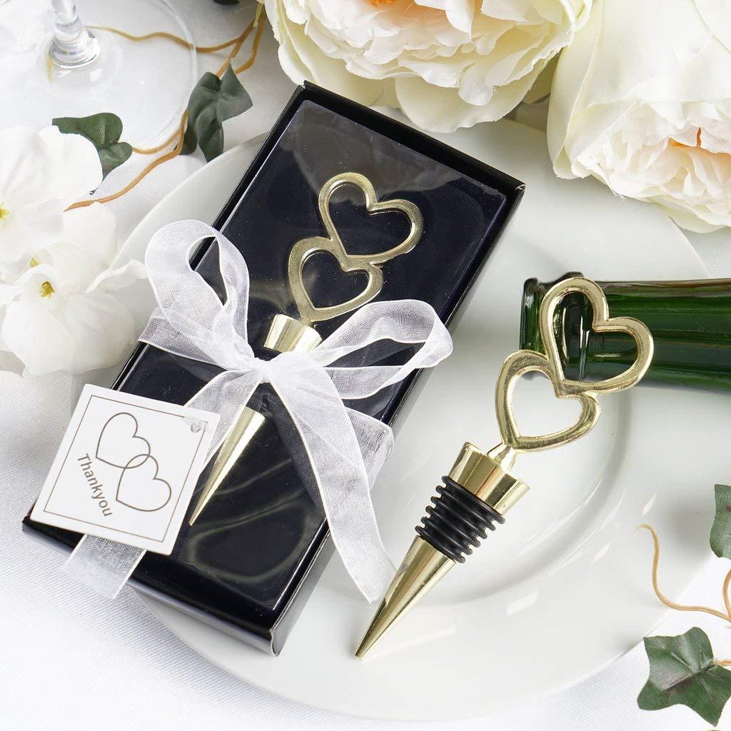 Efavormart Gold Metal Double Heart Wine Bottle Stopper Wedding Favor With Velvet Gift Box - Lot of 25 by Efavormart (Image #1)