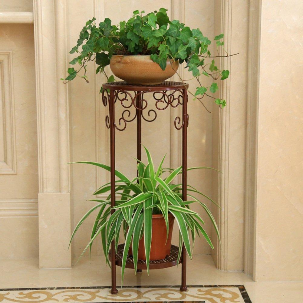 Flower Racks- Living Room Shelving Multilayer Plant Stand Display Shelf Indoor Shelf Iron Art Chlorophytum Flower Stand Balcony Green Radish Pot Rack (Color : Copper, Size : 26*60cm) ERRU