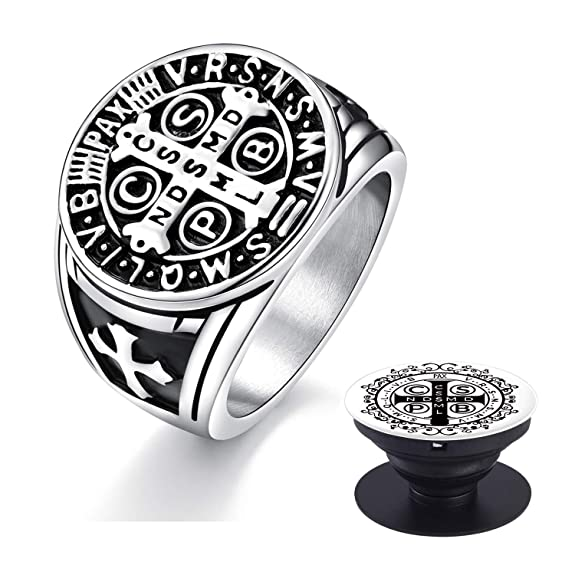 Xiexiela Men's Ring.St Benedict Exorcism Stainless Steel Cross Demon Protection. Cell Phone Holder Silver Gold by Xiexiela