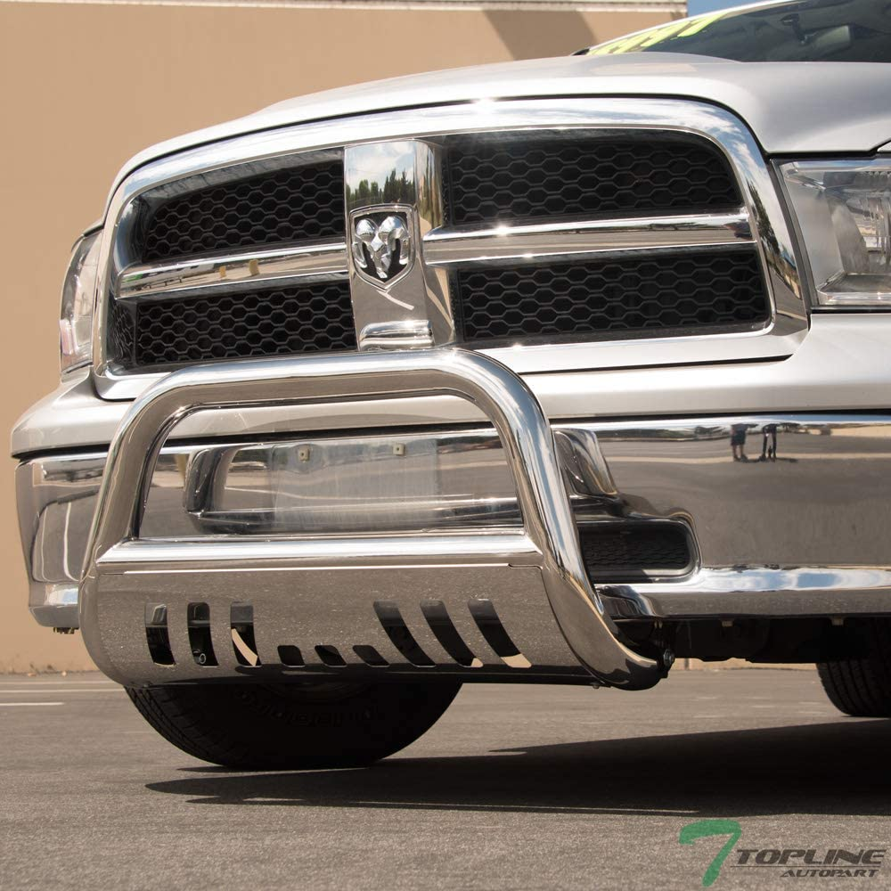 Topline Autopart Polished Stainless Steel Bull Bar Brush Push Front Bumper Grill Grille Guard With Skid Plate For 19-20 Chevy Silverado//GMC Sierra 1500