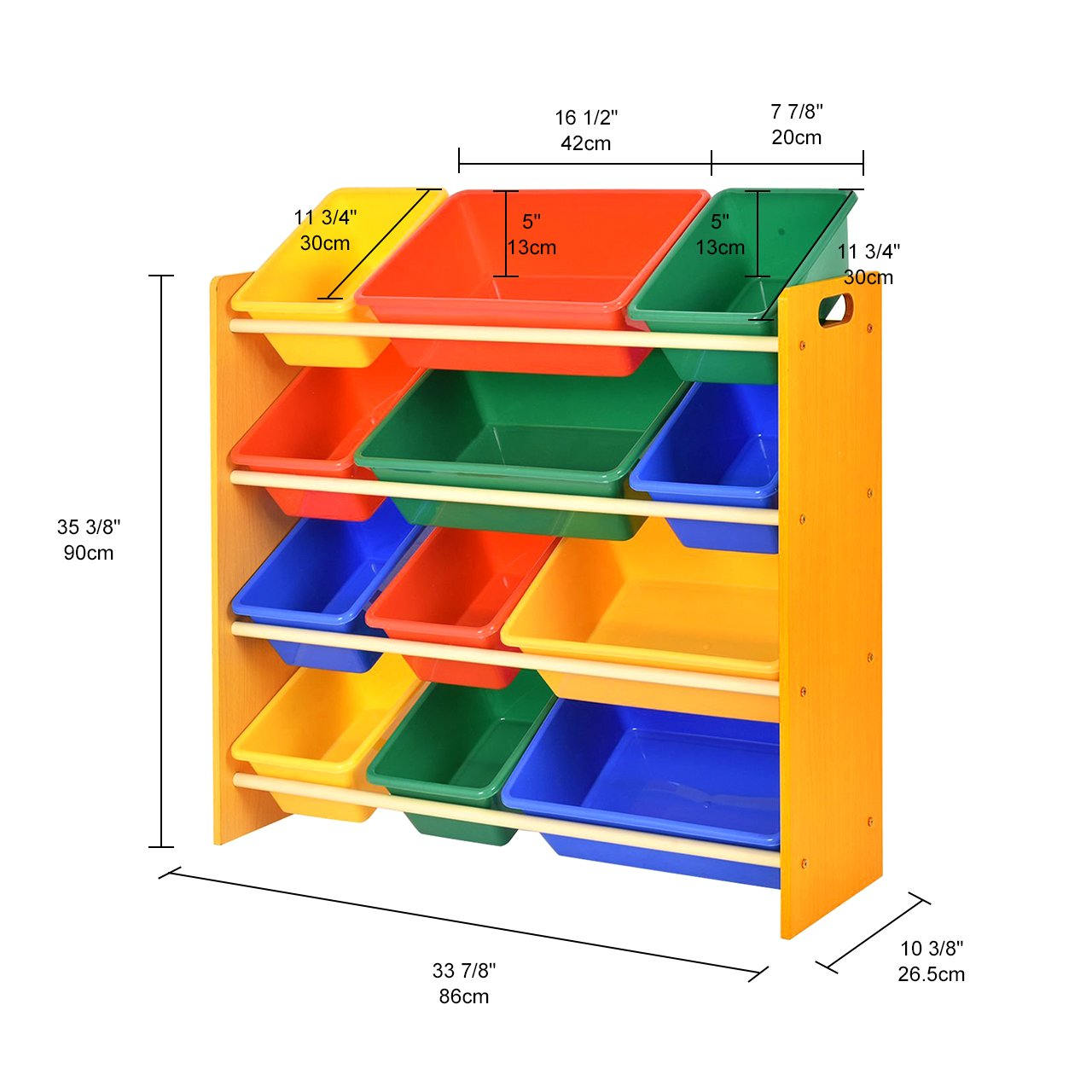 SortWise ® Kids Toy Storage Organizer with 12 Plastic Bins for Kids Bedroom Playroom, Multi-Colors Natural/Primary (4-Tier / 12 Plastic Bins)