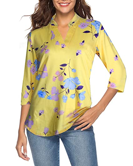 Ceasikery Women's 3/4 Sleeve Floral V Neck Tops Casual Tunic Blouse Loose Shirt by Ceasikery