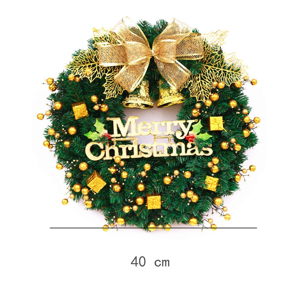 Mynse 15.7'' Artificial Pine Branch Christmas Wreath for Front Door Mall Window Hotel Christmas Decoration Christmas Ball Wreath Golden and Green by Mynse (Image #2)