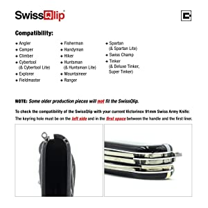 SwissQlip Deep Carry Pocket Clip Compatible with 91mm Victorinox Swiss Army Knife Models (Black) (Color: Black)