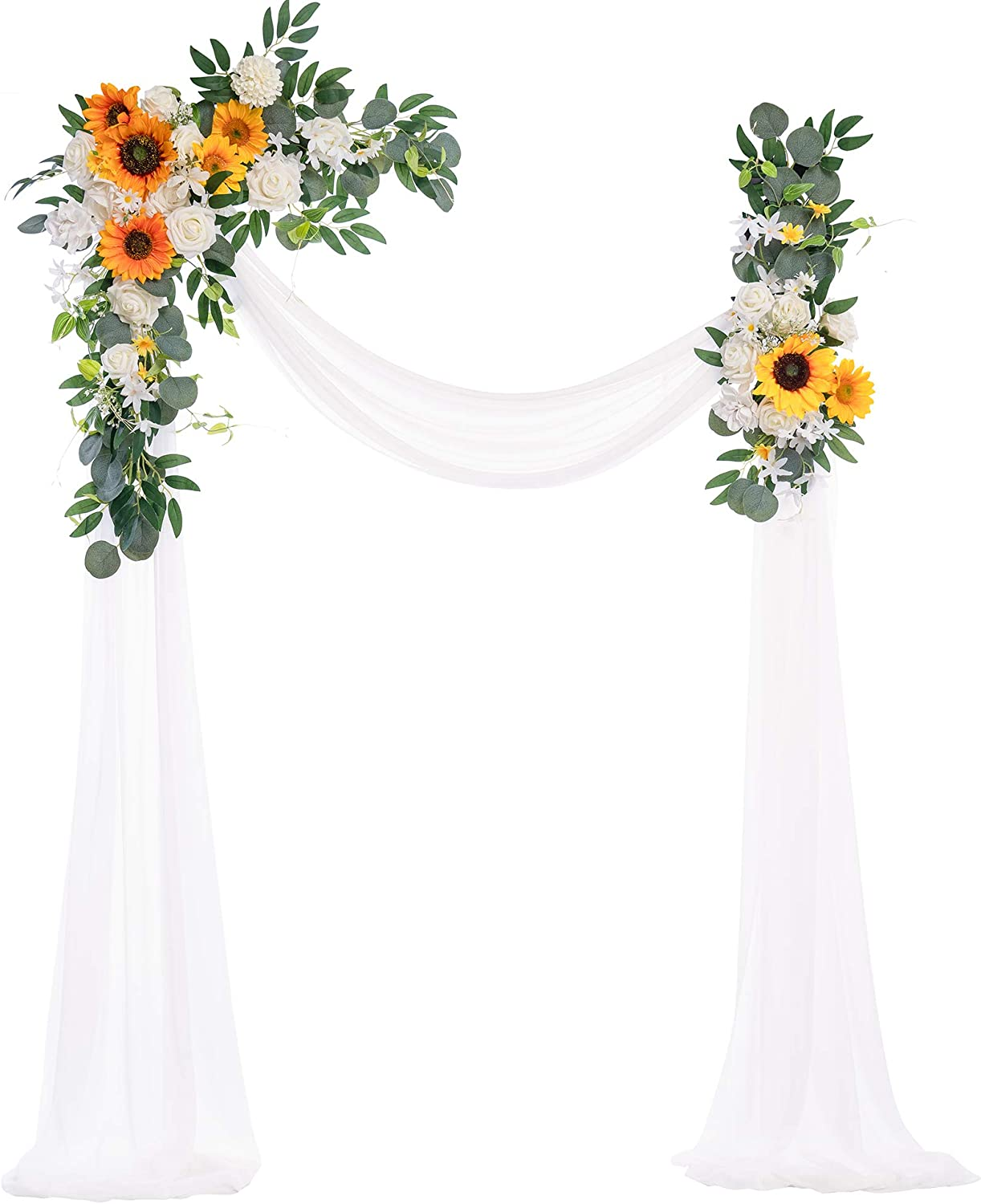 Ling's moment Artificial Wedding Arch Flowers Kit(Pack of 3) - 2pcs Sunflower Aobor Floral Arrangement with 1pc Semi-Sheer Swag for Ceremony and Reception Backdrop Decoration